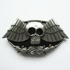 Men Belt Buckle Rose Wings Skull Belt Buckle Gürtelschnalle Boucle de ceinture