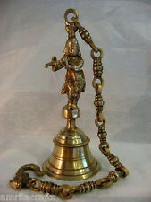 Lord Shri Krishna with Flute Brass Temple Bell on Chain India