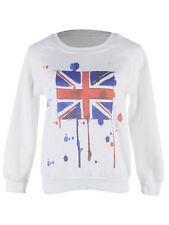 USA S/M Fit White Paint Ball Splatter Style Union Jack Pullover Sweater