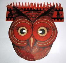 RARE VTG 1930's  BEISTLE HALLOWEEN HONEYCOMB TISSUE  HAT W DIE CUT OWL MASK