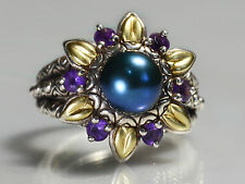 Barbara Bixby Sterling Silver 18k Gold Multi-gemstone Flower Ring Size 8.5