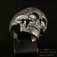 Sterling Silver Ring SKULL 3 Size 11 Biker Handcrafted Harley Masonic Mens