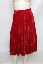 YVES SAINT LAURENT Rive Gauche Vintage Crushed Velvet Red Skirt Sz 36 US 4 / S