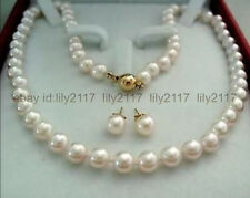 AAAA+ 14K Gold Clasp 9-10MM AAAA+ White Akoya Cultured Pearl Necklace Earring