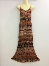 LONG MAXI DRESS STRAP FULL LENGTH COTTON CASUAL SUMMER PARTY FLORAL BROWN S M L