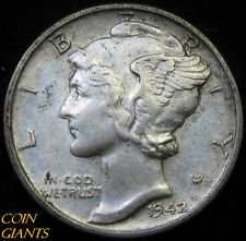 1942-P Winged Head Liberty Mercury Dime UNC BU 10c Philadelphia Coin Nice