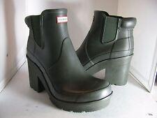 sz 10/ 42 NEW HUNTER 'Original Block Heel' Chelsea dark olive Rain Boot $195