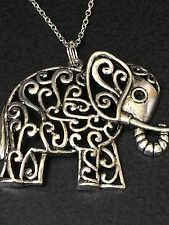 "Elephant Large Ornate Charm Tibetan Silver with 18"" Necklace BIN"