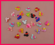 50pcs Polka dot printing 20mm mickey head acrylic beads charms with bow,