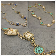 Premier Designs  Jewelry Turquoise And Silver Flowers Two-Sided Long Necklace