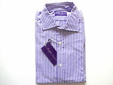 New Ralph Lauren Purple Label Italy Striped 100% Cotton Dress Shirt size 15