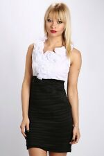 Ruffle Front Shirred Two Tone Dress, Black/white, Small Or UK8
