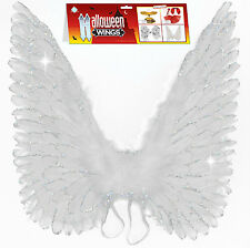 "Feather Wings! White 24"" Glitter Real Feather Wings for your Angel Costume!"