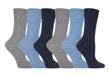 6 Pairs Ladies Sockshop  Diabetic Gentle Grip Socks 4-8uk 37-42eur Blue / Grey