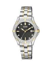 NEW Citizen Ladies Two Tone Stainless Steel Eco-Drive Diamond Watch - EW1924-52H