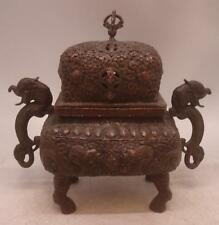 Stunning Oriental Chinese Bronze Incense Burner Censer / Urn with Lid