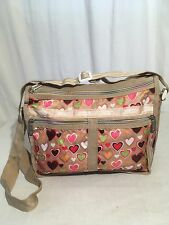 Vintage LESPORTSAC CROSS BODY DELUXE EVERYDAY BAG EXPANDABLE HEARTS