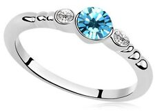Silver and Blue Small Size M Party Engagement Ring Diameter 16.5 mm FR144