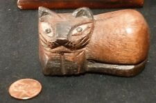 Vintage CHESHIRE Cat FOLK ART Primitive Artist Carved Wood Sculpture woodcarving