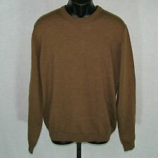 Brooks Brothers Mens Sweater Extra Large Merino Wool Light Brown Crewneck