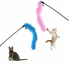1x Pets Cats Kitten Teaser Turkey Feather Fur Toy Chaser Wand Pet Game Toys Hot