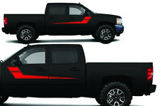 Vinyl Decal Rally Stripes 2 Wrap Kit for Chevy Silverado 1500/2500 2008-2013 Red