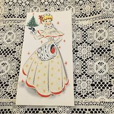 Vintage Greeting Card Front Christmas Pretty Woman Muff Glitter mb