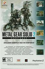 Vtg. Konami Metal Gear Solid 2 Substance Sony PS2  DVD ROM video game print ad