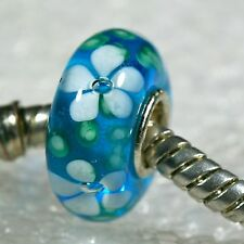 "SINGLE CORE EUROPEAN STYLE GLASS BEADS-""Turquoise Mountain Wildflower"""