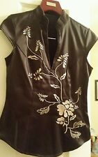 Ladies  top size XS brown cream  floral satin  Chinese VGC