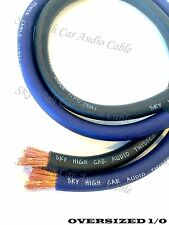 50 ft 1/0 Gauge AWG 25' BLACK & 25' BLUE Oversized Power Ground Wire Sky High