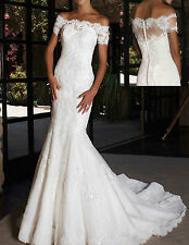 Elegant Off-the-Shoulder White Lace Short Sleeve Mermaid Wedding Dress Size+++++
