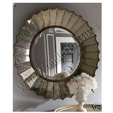 """Antiqued Ruffled Etched Round Wall Mirror 32"""" Stencil Venetian Horchow Elizabeth"""