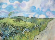 Unique Vincent Van Gogh painting, media: tempera, gouache, Countryside - meadows