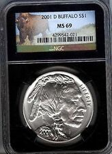 2001-D BUFFALO  COMMEM SILVER $1  -  NGC -  MS69  - MINT STATE 69 RETRO HOLDER
