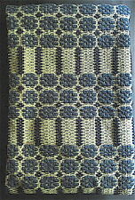 """Antique Coverlet Piece for Repurpose -Blue & Cream Wool-Hand Woven-30""""w x 20""""h"""