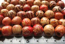10 tribal mix wood Dreadlock Dread Beads 12x11mm (approx 5mm hole) + free snake