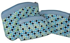 BNWT BLUE SET OF 3 COSMETIC MAKE UP BAGS RETRO TRAVEL HOLIDAY WASH BAGS NEW