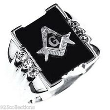 Free Mason Masonic Semi-Precious Black Onyx Stone Rhodium Plate Men Ring Size 11