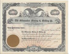 THE MILWAUKEE MINING & MILLING CO.........UNISSUED STOCK CERTIFICATE