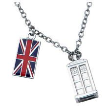Doctor Who Union Jack Phone Booth Tardis 2 Charm Pendant Costume Necklace 18""
