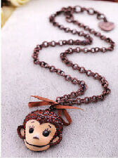 N197 Betsey Johnson Exquisite Cute Crystal Monkey Chimpanzee Chimp Necklace US