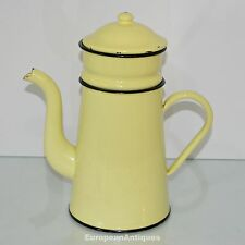 Antique Vintage French Yelow Enamelware Graniteware Coffee Pot Biggin Cafetiere