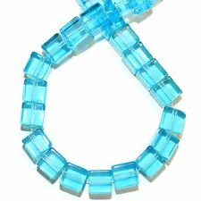 G1361 Aquamarine Blue 8mm Square Cube Reconstituted Gemstone Crystal Glass Beads