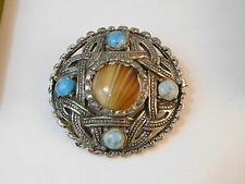 Vintage Celtic Scottish Faux Glass Agate Turquoise Targes Shield Brooch 9b 47