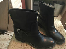 Franco Sarto Womens Black Midcalf Boots Size 8 M With Buckle Biker NEW