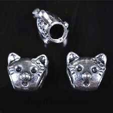 30pcs 12mm Cat Head Spacer Beads 5mm Hole Charms Tibet Silver DIY Jewelry A7605