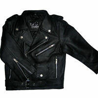 Kids Real 100% Leather Biker Jacket with Zip Fastenings Ages 3 - 13 years Pocket