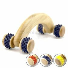 Handmade Wooden 4 Wheels Colors Manual Back Full Body Massage Roller Relax Tool