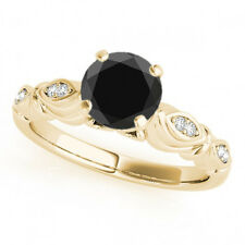 2.06 Ct Fancy AAA Black Diamond Solitaire Promise Ring Stylish 14k Yellow Gold